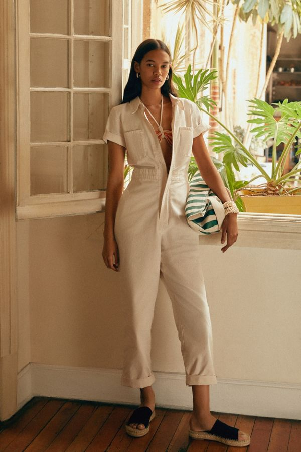 Cream cheap summer jumpsuit