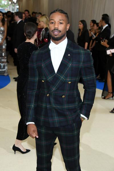 Michael B Jordan plaid suit