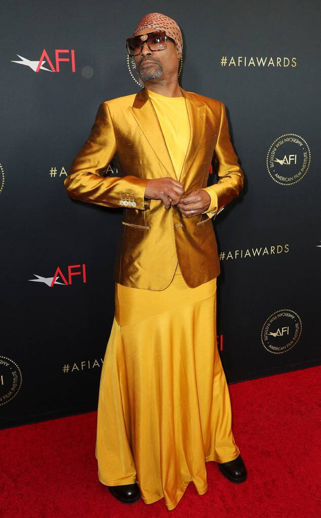 Billy Porter wearing yellow blazer and skirt to the aft awards 2019