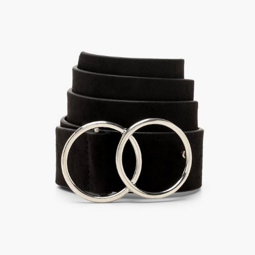 Double ring belt in black