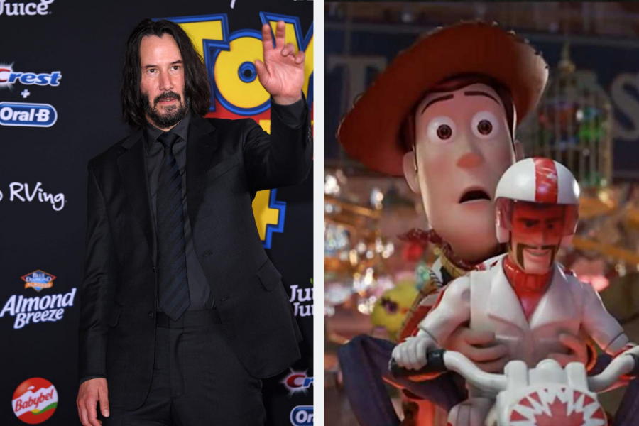 Keanu Reeves on toy story 4 red carpet Duke Caboom