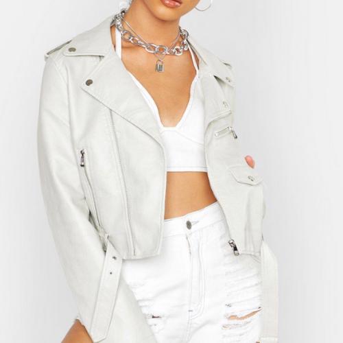 Product image of a light tone leather jacket