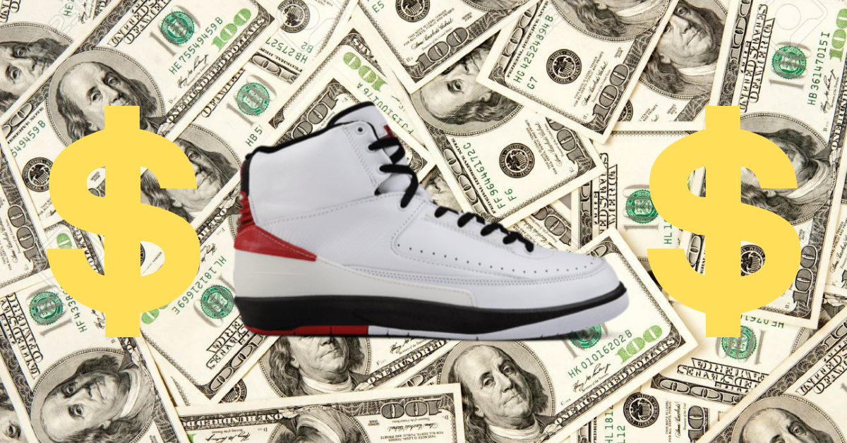 Air Jordan white on a pile of money with money signs