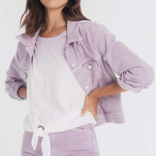 Women wearing a purple jacket