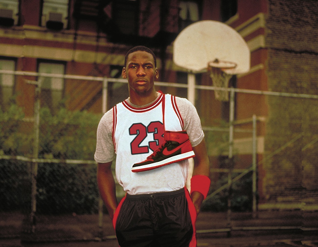 Michael Jordan wearing the first Air Jordan 1 on a basketball court
