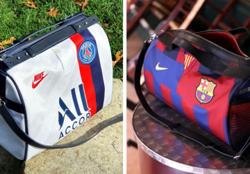 Franck-joubert-leather-bags-made-from-sports-jerseys-psg-fcb